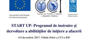 """Filiala Orhei a CCI a RM dă startul înscrierii la """"Programul de instruire și dezvoltare a abilităților de inițiere a afacerii"""""""